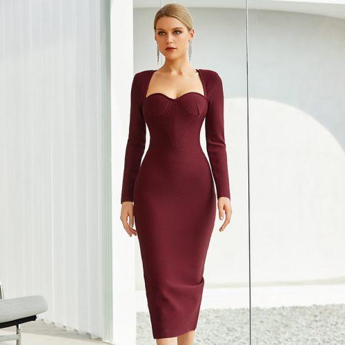 Graceful-Long-Sleeve-Bandage-Dress-K842-2