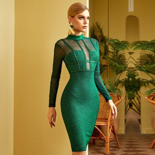 Green-Golden-Silk-Bandage-Dress-K841-1
