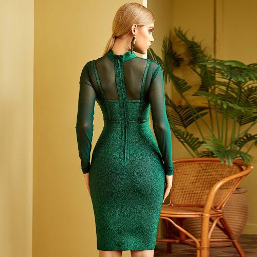 Green-Golden-Silk-Bandage-Dress-K841-4