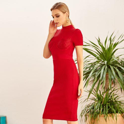 Lace-Short-Sleeve-Knit-Skirt-K922-1