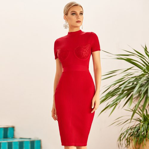 Lace-Short-Sleeve-Knit-Skirt-K922-9