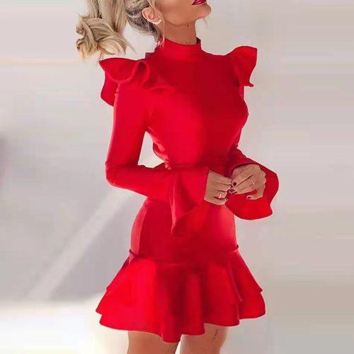Red-Flounce-Bandage-Dress-K973-4