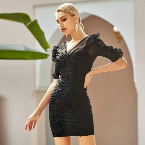 Ruched-Mesh-Bandage-Dress-K964-1