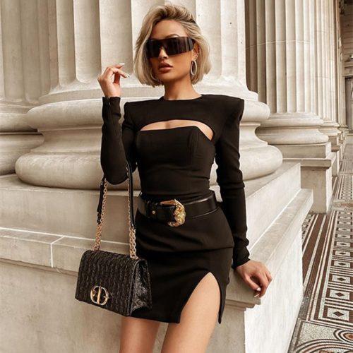 Sexy-Black-Long-Sleeve-Bandage-Dress-K835-5_副本
