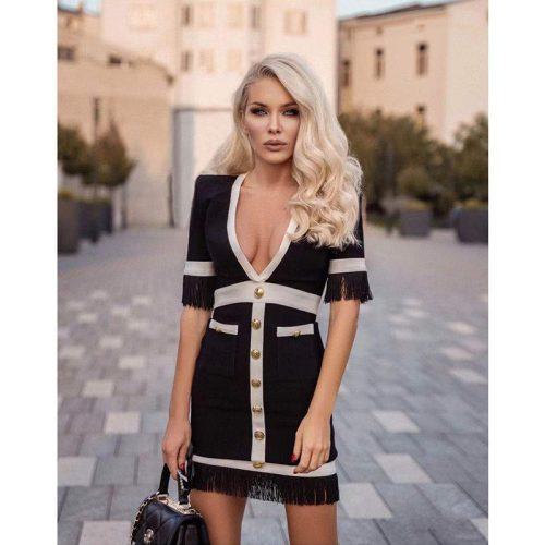 White-Stripe-Short-Sleeve-Black-Bandage-Dress-K956-11