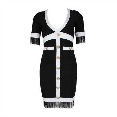 White-Stripe-Short-Sleeve-Black-Bandage-Dress-K956-1_副本11
