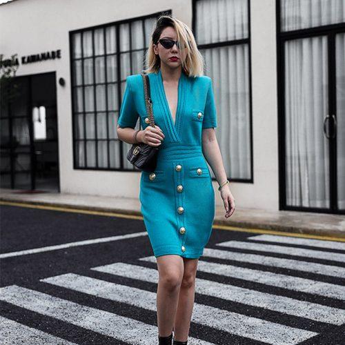 Deep-V-Knit-Dress-K1027