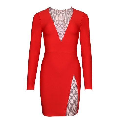 Long-Sleeve-Deep-V-Bandage-Dress-K1018-4