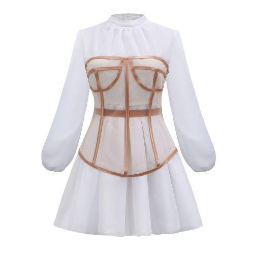 Long-Sleeve-Mesh-Dress-﹠-Gauze-Waist-Sealing-Set-K1054-10
