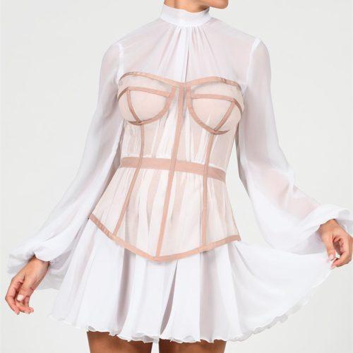Long-Sleeve-Mesh-Dress-﹠-Gauze-Waist-Sealing-Set-K1054-12_副本