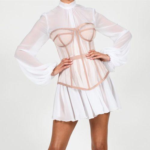 Long-Sleeve-Mesh-Dress-﹠-Gauze-Waist-Sealing-Set-K1054-13_副本