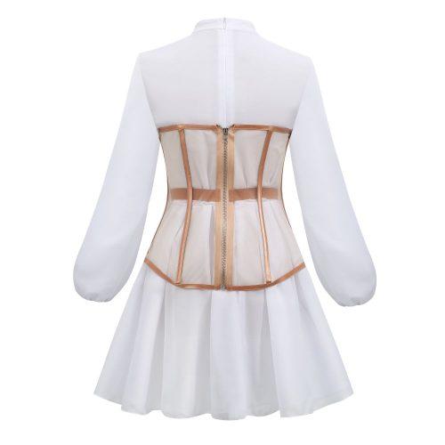 Long-Sleeve-Mesh-Dress-﹠-Gauze-Waist-Sealing-Set-K1054-9