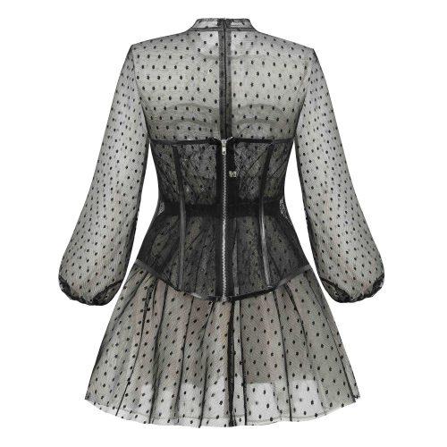 Long-Sleeve-Mesh-Dress-﹠-Lace-Waist-Sealing-Set-K1053-11
