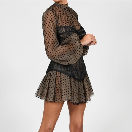 Long-Sleeve-Mesh-Dress-﹠-Lace-Waist-Sealing-Set-K1053-17_副本