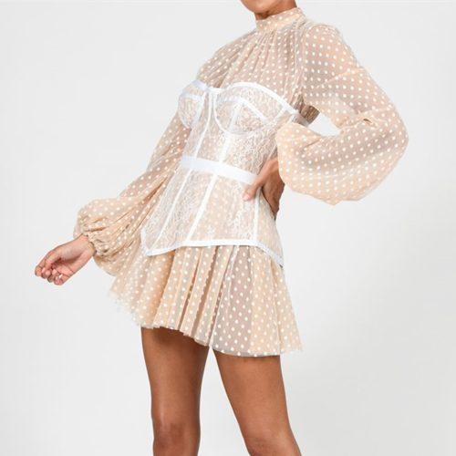 Long-Sleeve-Mesh-Dress-﹠-Lace-Waist-Sealing-Set-K1053-4_副本