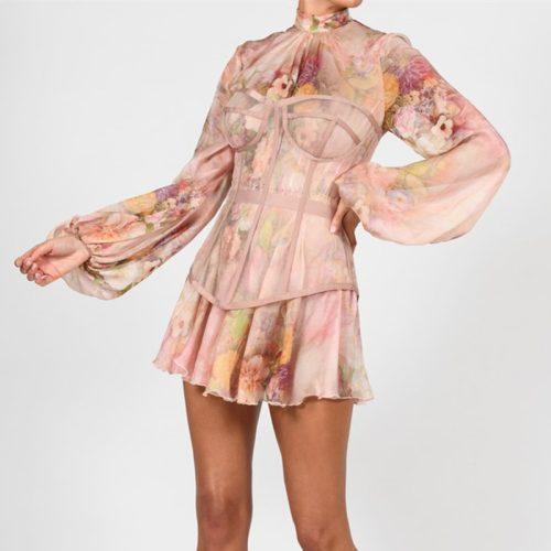 Long-Sleeve-Printed-Dress-﹠Gauze-Waist-Sealing-Set-K1052-15