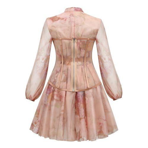 Long-Sleeve-Printed-Dress-﹠Gauze-Waist-Sealing-Set-K1052-17