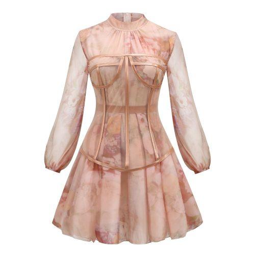 Long-Sleeve-Printed-Dress-﹠Gauze-Waist-Sealing-Set-K1052-18