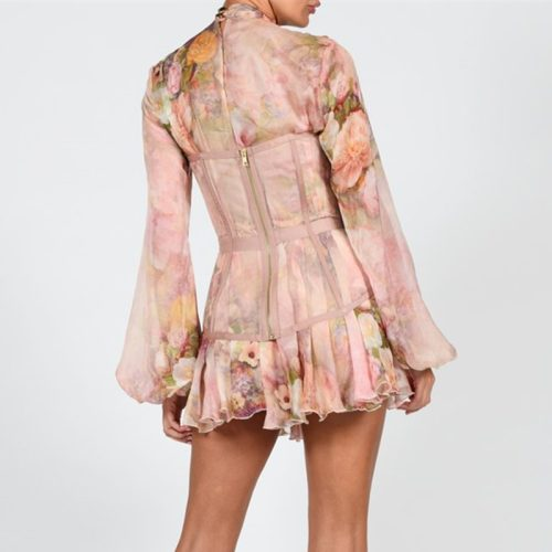 Long-Sleeve-Printed-Dress-﹠Gauze-Waist-Sealing-Set-K1052-7