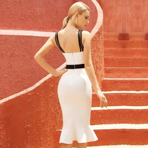 Black-And-White-Fishtail-Bandage-Dress-K1087-1