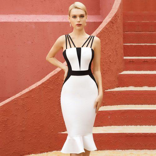 Black-And-White-Fishtail-Bandage-Dress-K1087-4