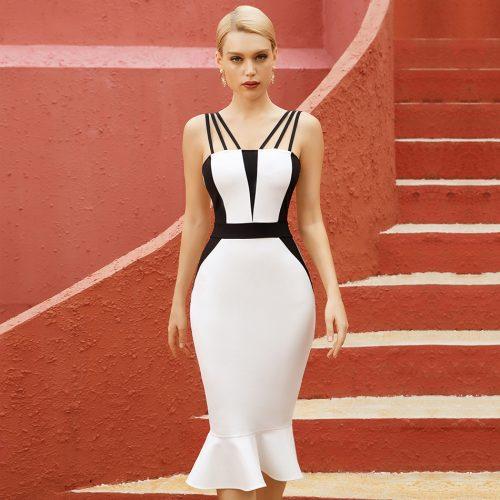 Black-And-White-Fishtail-Bandage-Dress-K1087-5