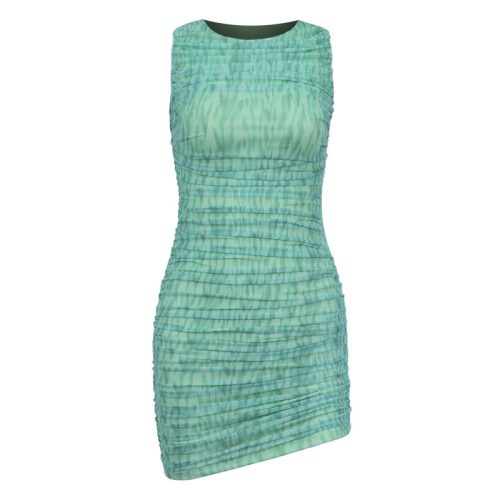 Green-Mesh-Ruched-Bodycon-Dress-OS00341