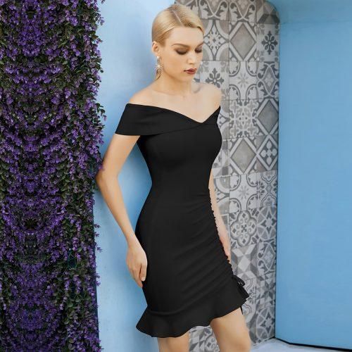 Off-Shoulder-Fishtail-Bandage-Dress-K1088-4