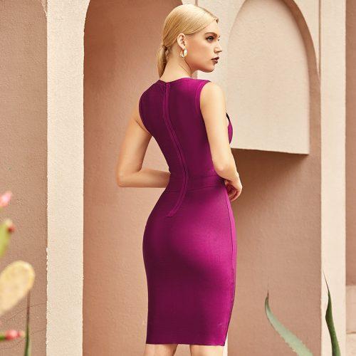 Sleeveless-Deep-V-Lace-up-Bandage-Dress-K1090-1