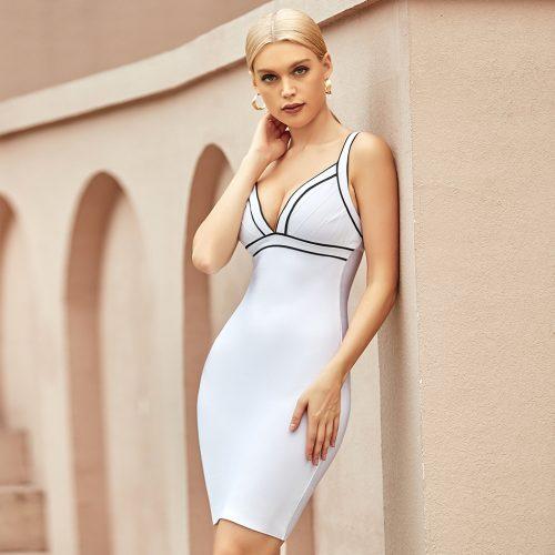 V-Neck-Stripe-Bandage-Dress-K1064-3
