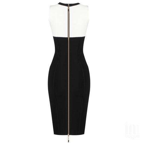 White-And-Black-Sleeveless-Bandage-Dress-K1102-12