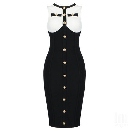 White-And-Black-Sleeveless-Bandage-Dress-K1102-14