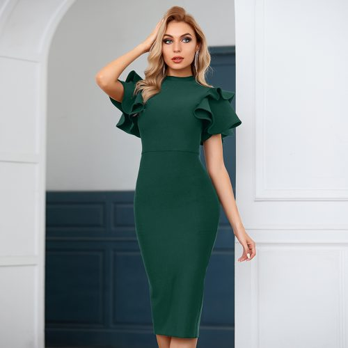 Flounce-Sleeve-Bandage-Dress-B1207-1